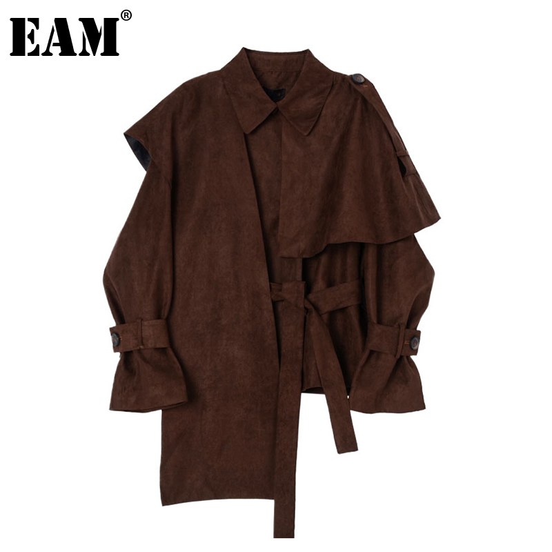[EAM] Loose Fit Brown Ruffles Irregular Big Size Jacket New Lapel Long Sleeve Women Coat Fashion Tide Spring Autumn 2020 1Z473 1