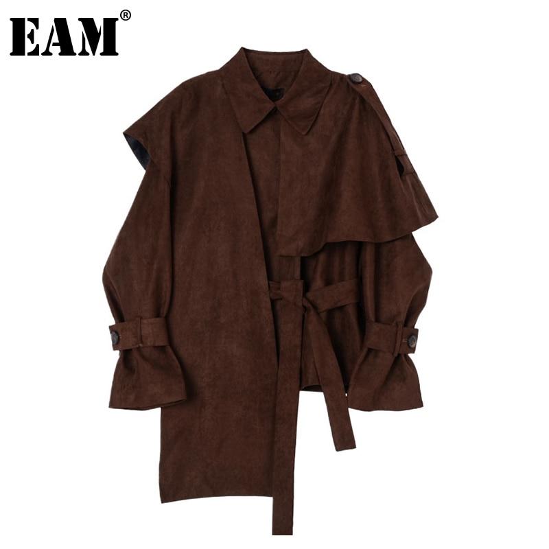 [EAM] Loose Fit Brown Ruffles Irregular Big Size Jacket New Lapel Long Sleeve Women Coat Fashion Tide Spring Autumn 2020 1Z473 1