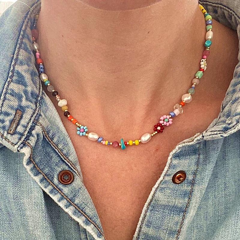 В богемном стиле витражное стекло бусины в виде РИСА ожерелье из натурального жемчуга для женщин короткое ожерелье шарма ювелирных изделий...