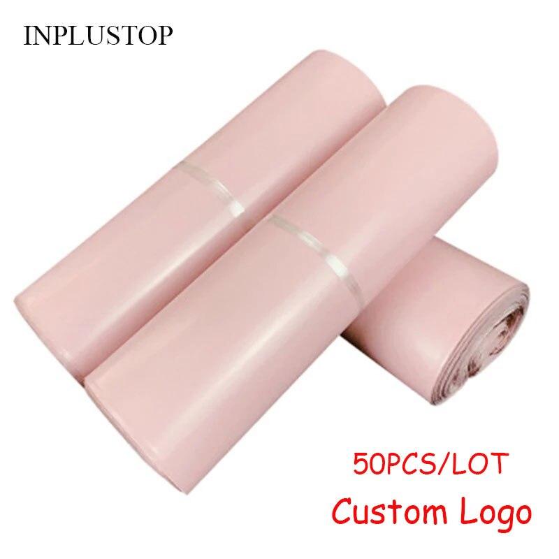 INPLUSTOP 50 шт./лот розовые пакеты для хранения конвертов полиэтиленовые пакеты для курьерской доставки водонепроницаемые самоклеящиеся пакет...