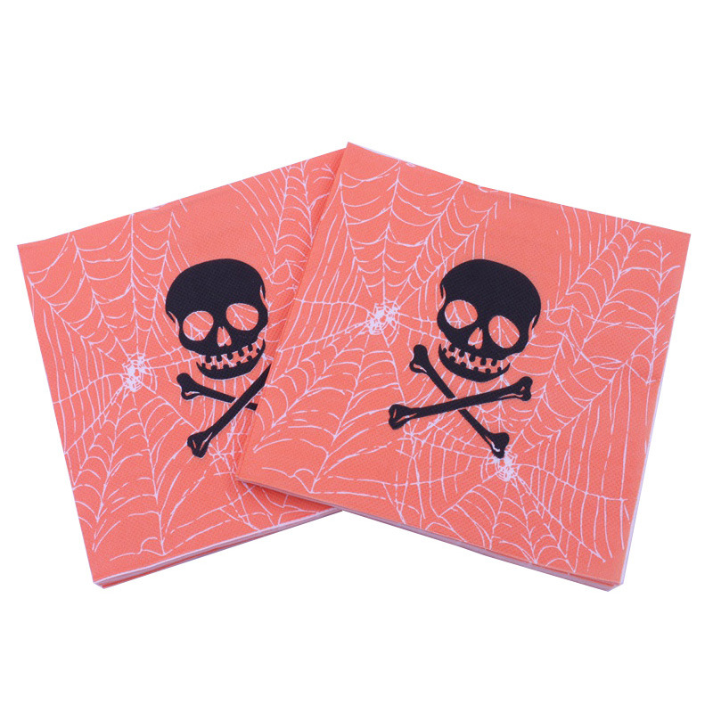 [Currently Available] Color Printing Skeleton Skull Head Napkin Halloween Paper Towel Kleenex Party Bar Decoration