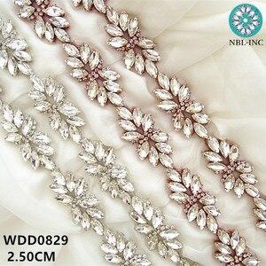 Image 5 - (1 stocznia) srebrna wyszywana aplikacja z kryształu górskiego wykończenia złota żelazko na sukni ślubnej WDD0278