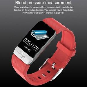 Image 3 - T1 ECG الصحة ساعة ذكية لعرض معدل الضغط ميزان الحرارة قياس درجة الحرارة تشغيل المسار المسار تحكم بالموسيقى الرياضة Smartwatch الرجال النساء