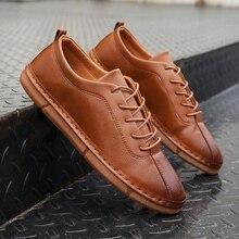 2121 Nice Pop Nice moda cómoda Zapatos casuales de cuero hombres hechos a mano Vintage Zapatos planos de encaje-up Homme Zapatos