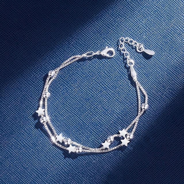 DAIWUJAN 925 Sterling Silver Bracelets Double Layered Stars Beads Chian Bracelets & Bangles For Women Girls Wedding Jewelry 1