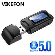 Bluetooth 5.0 ses alıcı verici LCD ekran 3.5mm AUX Jack Stereo USB Dongle kablosuz adaptörü için araba PC TV kulaklık