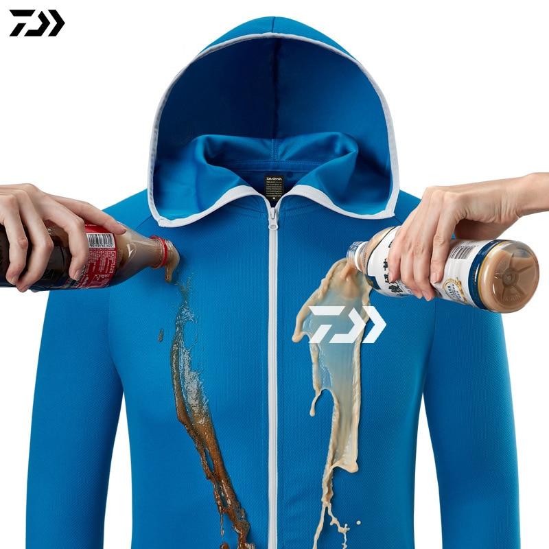 Daiwa Hoodie Fishing Jerseys Quick Dry Breathable Fishing Shirt Long Sleeve Fishing Jacket Waterproof Fishing Clothing Men