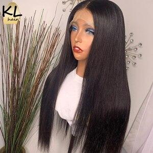 Image 1 - KL dantel ön İnsan saç peruk düz ön koparıp bebek saç 8 26 brezilyalı Remy 130% yoğunluklu 5 Derin bölümü T parçası dantel peruk