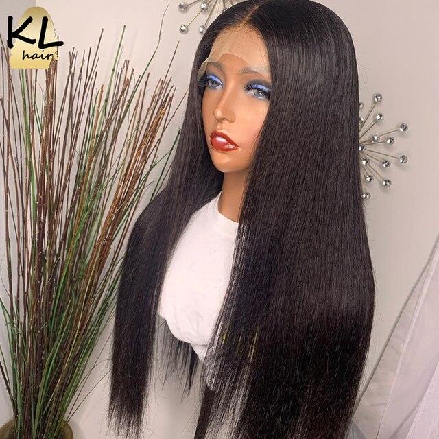 KL dantel ön İnsan saç peruk düz ön koparıp bebek saç 8 26 brezilyalı Remy 130% yoğunluklu 5 Derin bölümü T parçası dantel peruk