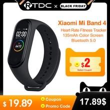 Xiaomi Mi Band 4 최신 스포츠 Miband 4 스마트 팔찌 심박수 피트니스 트래커 135mAh 컬러 스크린 방수 블루투스 5.0