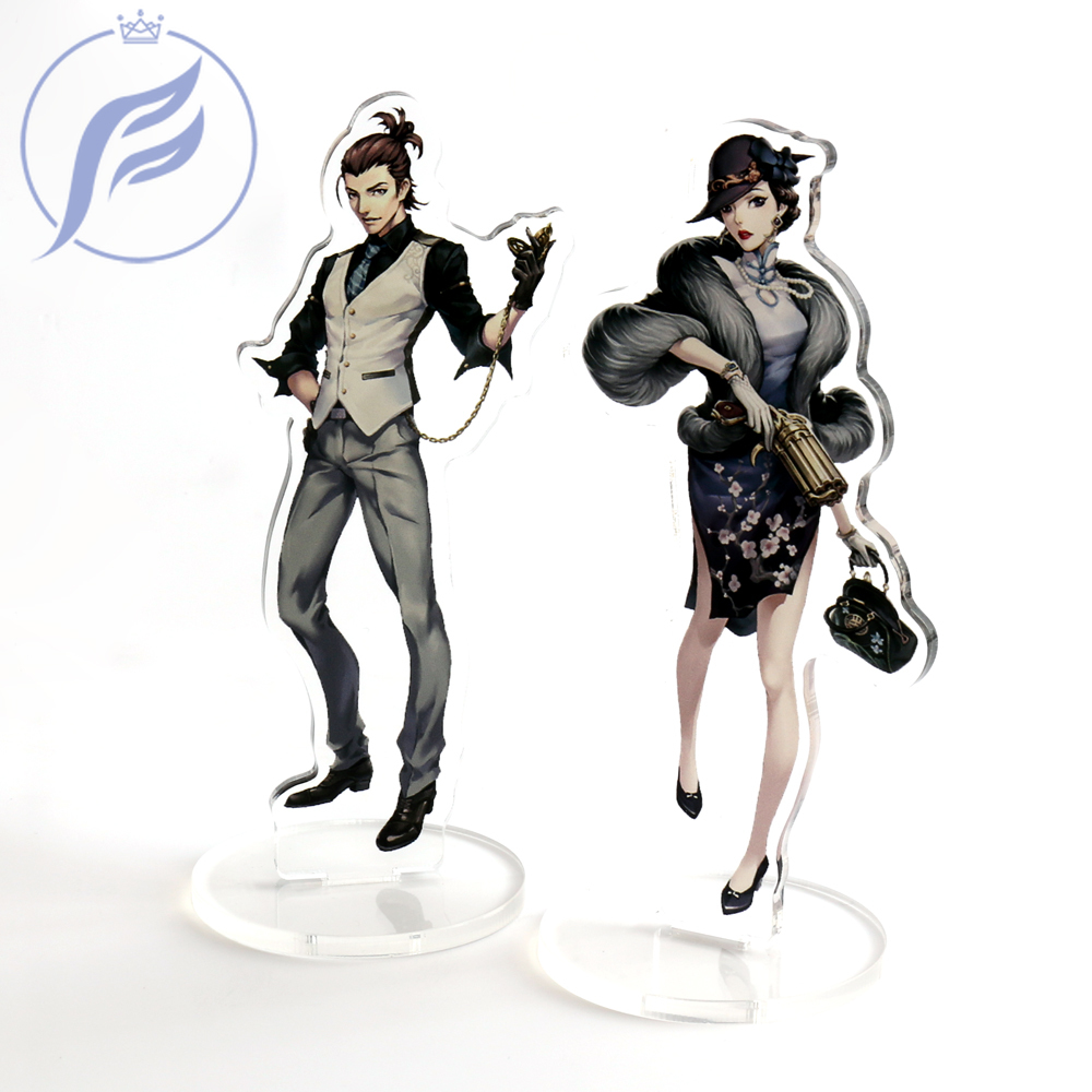 FANGQINGMAO 7CM Personalized Transparent Custom Shaped Printed Figure Clear Acrylic Display Stand for Cartoon Character