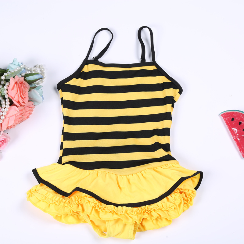 Baby Bathing Suit Children GIRL'S Swimsuit One-piece Swimming Suit Stripes Lace CHILDREN'S Swimsuit Wholesale