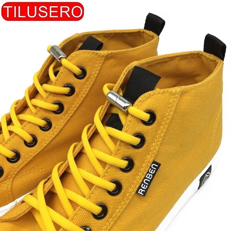 2020 New Elasticity Shoelaces 1Pair No Tie Shoelaces Metal Capsule Button Shoelaces