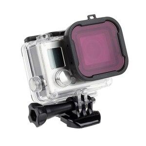 Image 5 - לירות עמיד למים מקרה עדשת מסנני GoPro גיבור 4 3 +/4 שחור כסף פעולה מצלמה אדום מסנן עבור ללכת פרו מצלמת צלילה אבזר