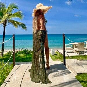 Image 4 - Riseado 2020 Pareo חוף טוניקת ביקיני כיסוי Ups ארוך חוף שמלת בגדי ים חצי שרוול בגד ים סקסי רחצה חליפות נשים