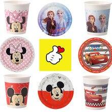 Frzen Minnie Mickey Mouse dekoracje na imprezę urodzinową 8 osób jednorazowy talerz Nakpin Cup obrus zaopatrzenie firm zestawy