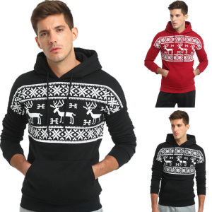 Fashion Christmas Snowflower Prints Pullover Winter Sweater Men Black Sweater Men's Elk Hood Kerst Trui Mannen Women