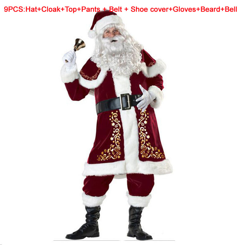 A Full Set Of Christmas Costumes Santa Claus For Adults Red Christmas Clothes Men Women Dress Santa Claus Costume Luxury Suit