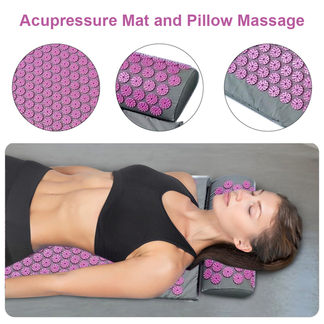 Full Body Massager Cushion Long Acupressure Mat and Pillow Massage Set for Back Neck Pain Reliefs and Muscle Relaxation|Massage Cushion|   -