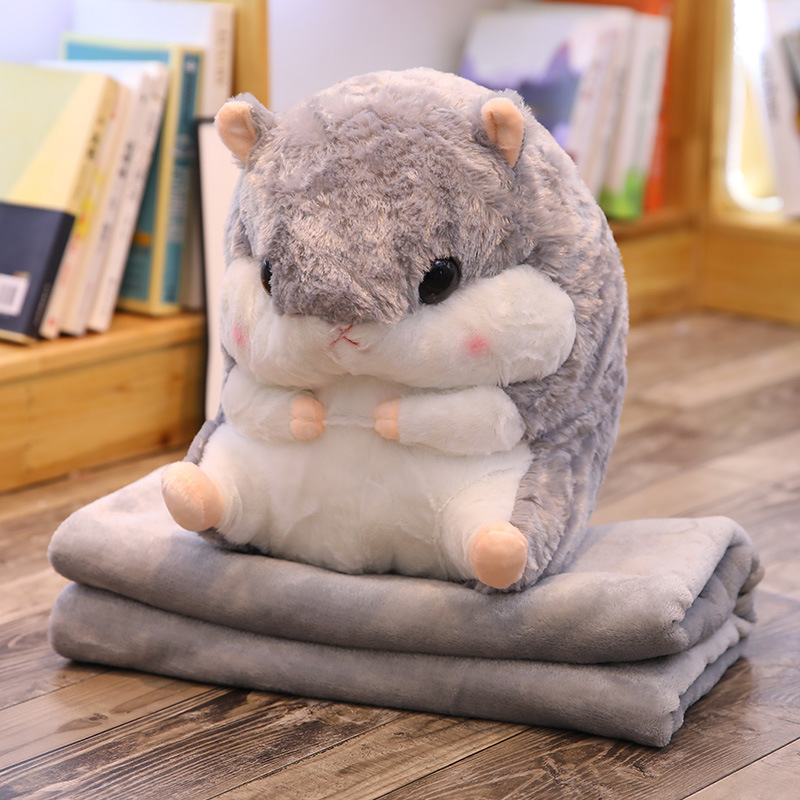 Cartoon Hamster Doll Airable Blanket Three-in-One Napping Pillow And Blanket Plush Toys Custom Work Customizable
