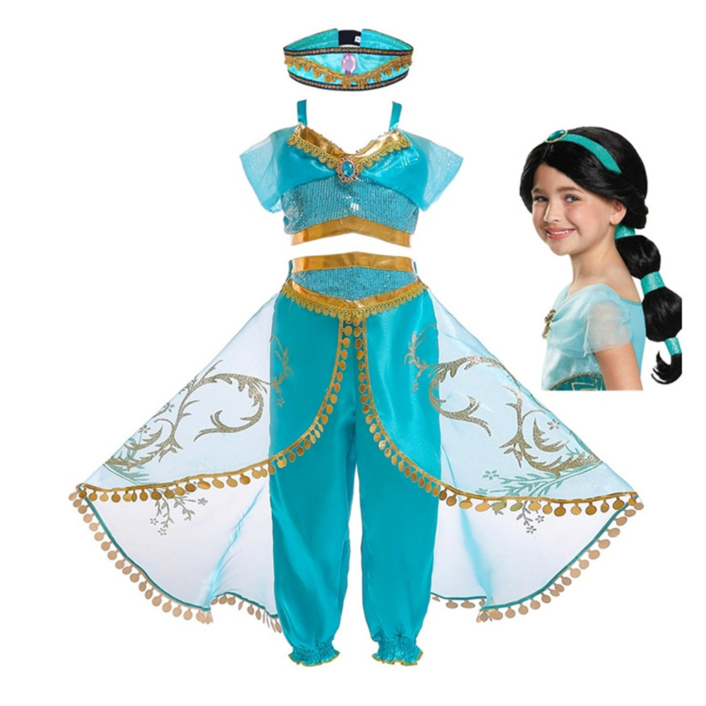 Freebily Girls Jasmine Aladdin Arabian Princess Costumes Halloween Dress Up Party Outfit Crop Top with Sequin Pants Set Sky Blue 2-3 Years