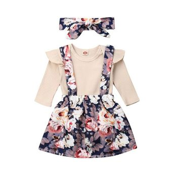 Emmababy 3pc Clothes Set Newborn Kids Baby Girls Clothes Ruffle Solid Long sleeve Bodysuit strap Floral print Dress bow Headband цена 2017