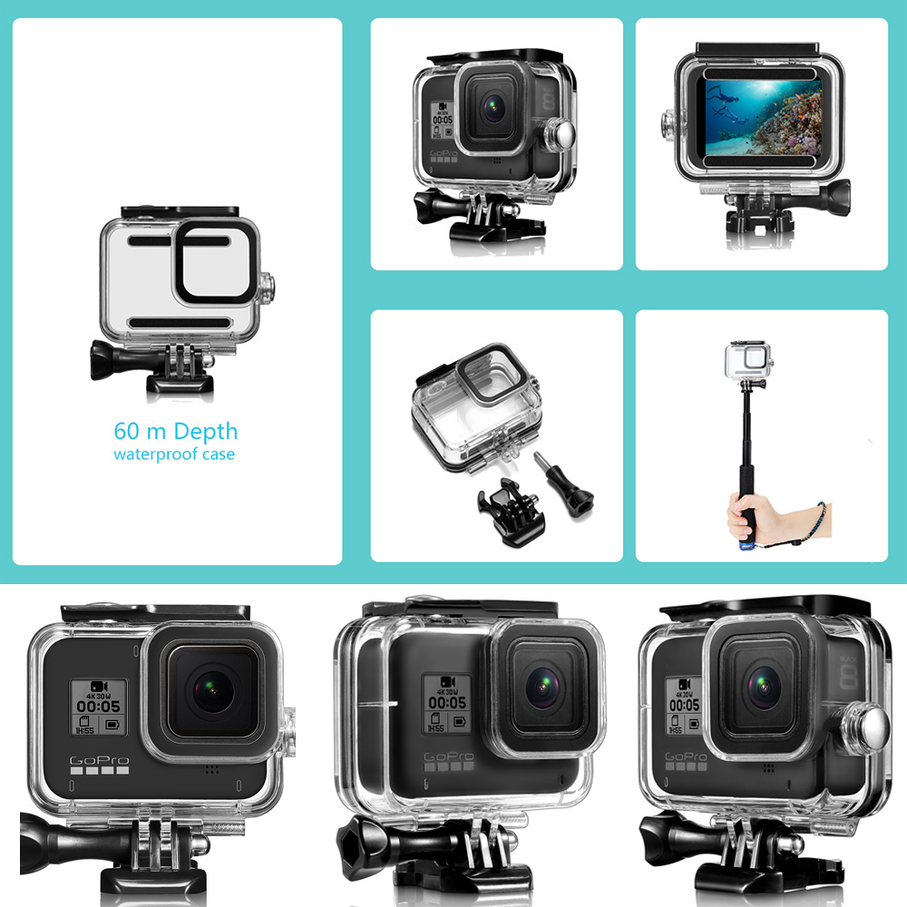 CAENBOO Waterproof Case For GoPro Hero 8 Black Underwater Diving Protective Cover Housing Mount for Go Pro Hero8 Accessories 6