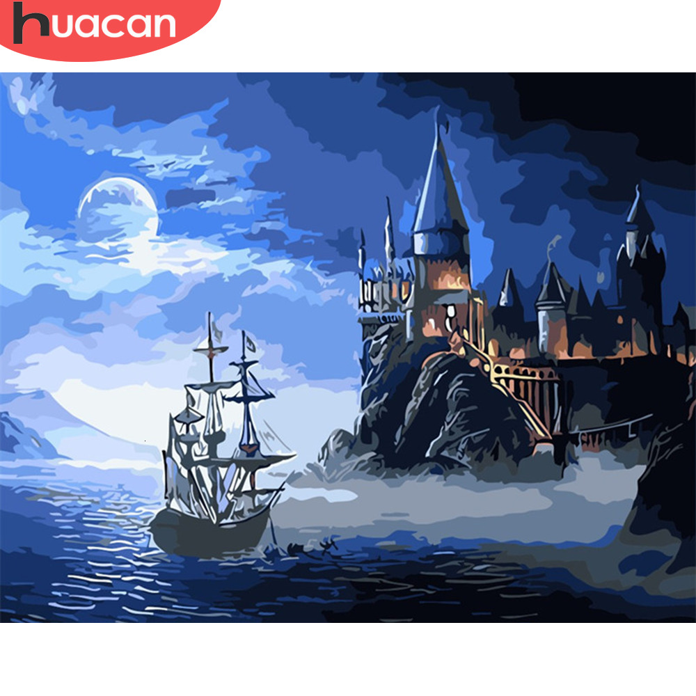HUACAN DIY Oil Painting Sea Scenery Kits Drawing Canvas HandPainted Pictures By Numbers Sailboat Home Decoration Art Gift