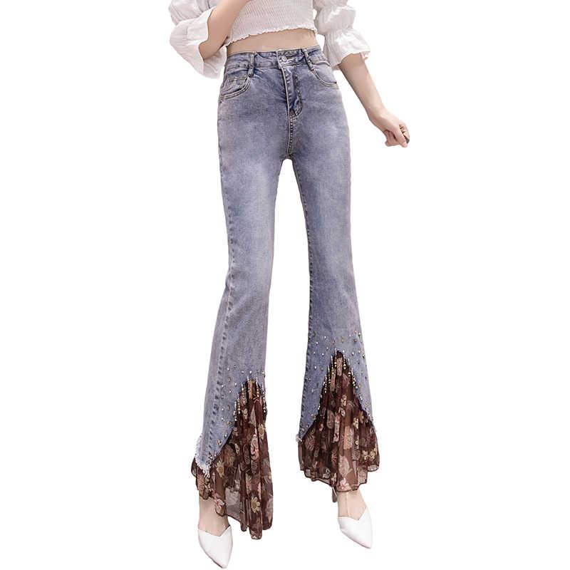 2019 automne et hiver nouveau perlé en mousseline de soie couture sauvage mince micro-bell pantalon femme large jambe denim pantalon