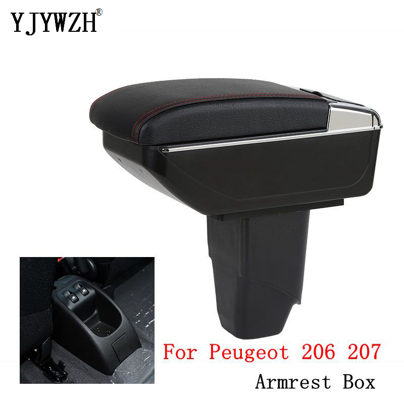 <font><b>Armrest</b></font> box For <font><b>Peugeot</b></font> <font><b>206</b></font> 207 central Store content Storage box USB with cup holder ashtray car-styling interior accessories image