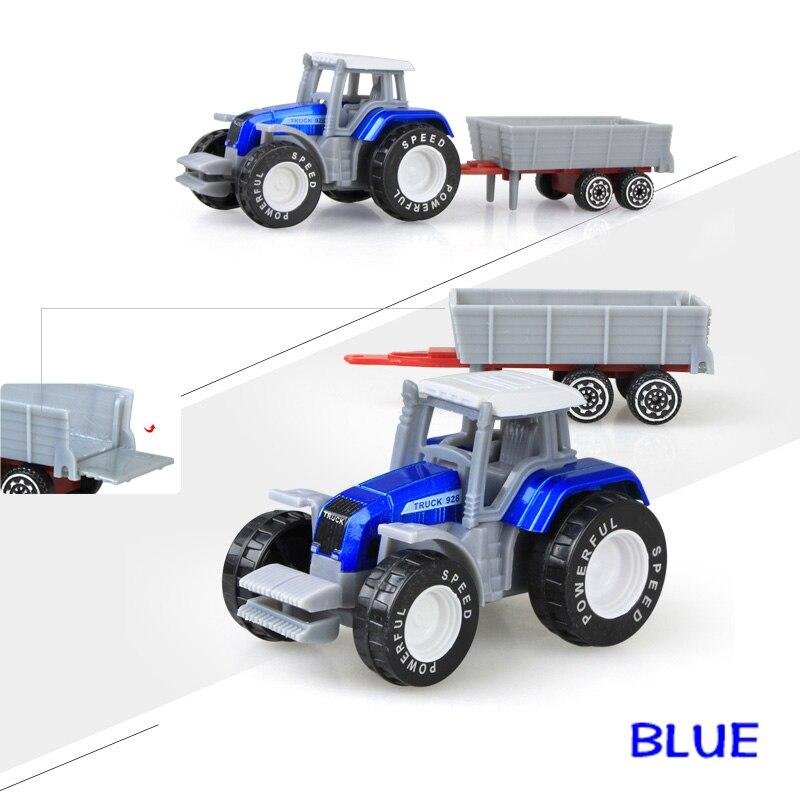 Литая под давлением сельскохозяйственная техника мини-модель автомобиля Инженерная модель автомобиля трактор инженерный автомобиль трактор игрушки модель для детей Рождественский подарок - Цвет: Tractor Blue