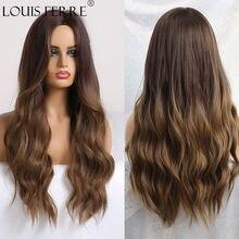 LOUIS FERRE – perruque synthétique longue ombrée noire brune pour femmes, postiche avec raie centrale naturelle, résistante à la chaleur pour Cosplay