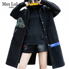 Coats Long Windbreaker Punk Hooded-Striped Thicken Korean Winter Fashion Casual Women