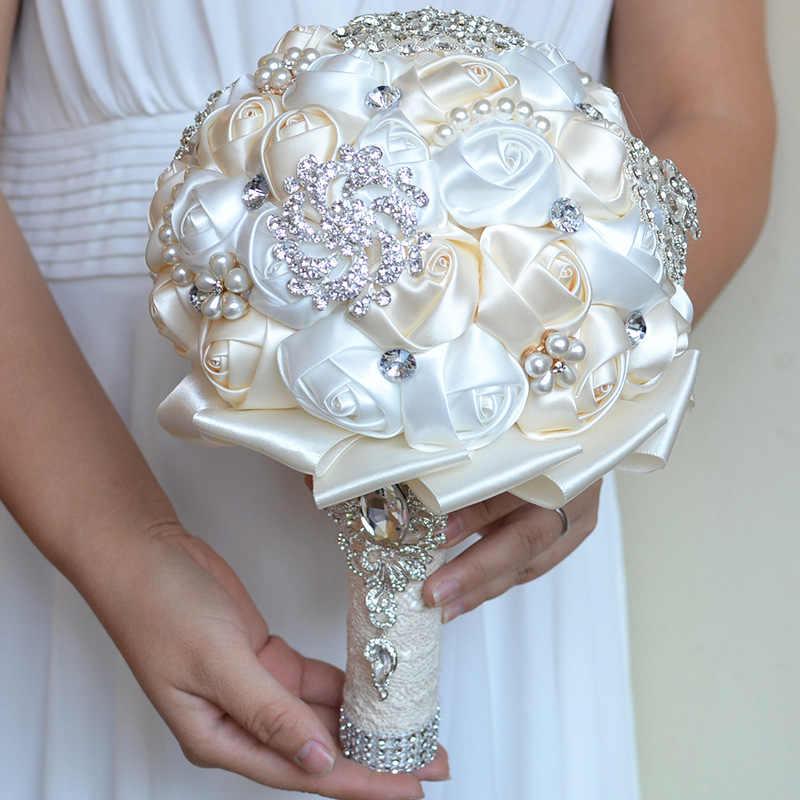 2019 Bouquet ครีมงาช้างเข็มกลัด Bouquet Wedding Bouquet de mariage โพลีเอสเตอร์ช่อดอกไม้เพิร์ล Buque de noiva