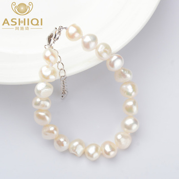 цена на ASHIQI Genuine Natural Baroque Pearl Bracelets 9-10mm White Freshwater Pearl Jewelry Gift For Women Fashion Bracelets 2019