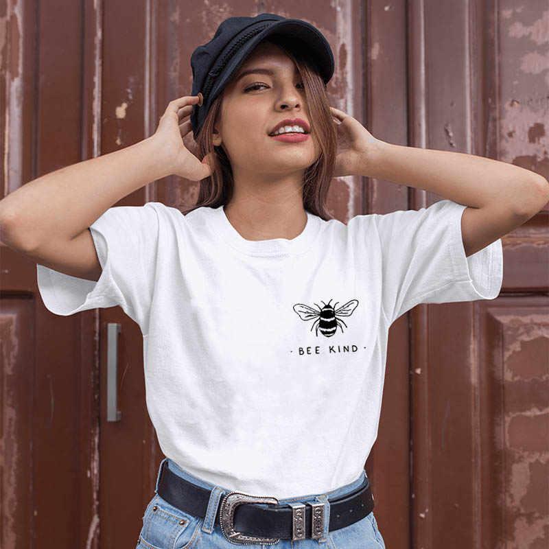Arı tür sevimli arı grafik baskılı yeni varış kadın yaz komik % 100% pamuk T-Shirt nazik kazak kıyafetler iyilik gömlek