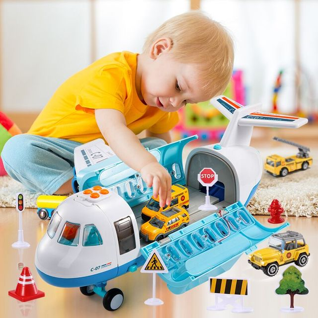 Mist Spray Plane Children's Toys Cars for Boys with  6 Diecast Construction Vehicles,Educational Toys for Kids 2 to 4 Years Old 1