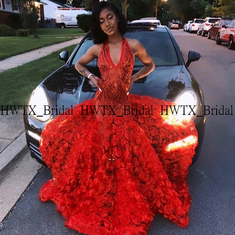 New Red 3D Flowers   Prom     Dresses   2020 Long V-neck Sexy Mermaid African Black Girl Gala   Prom     Dress   Women Formal Party Gown Custom