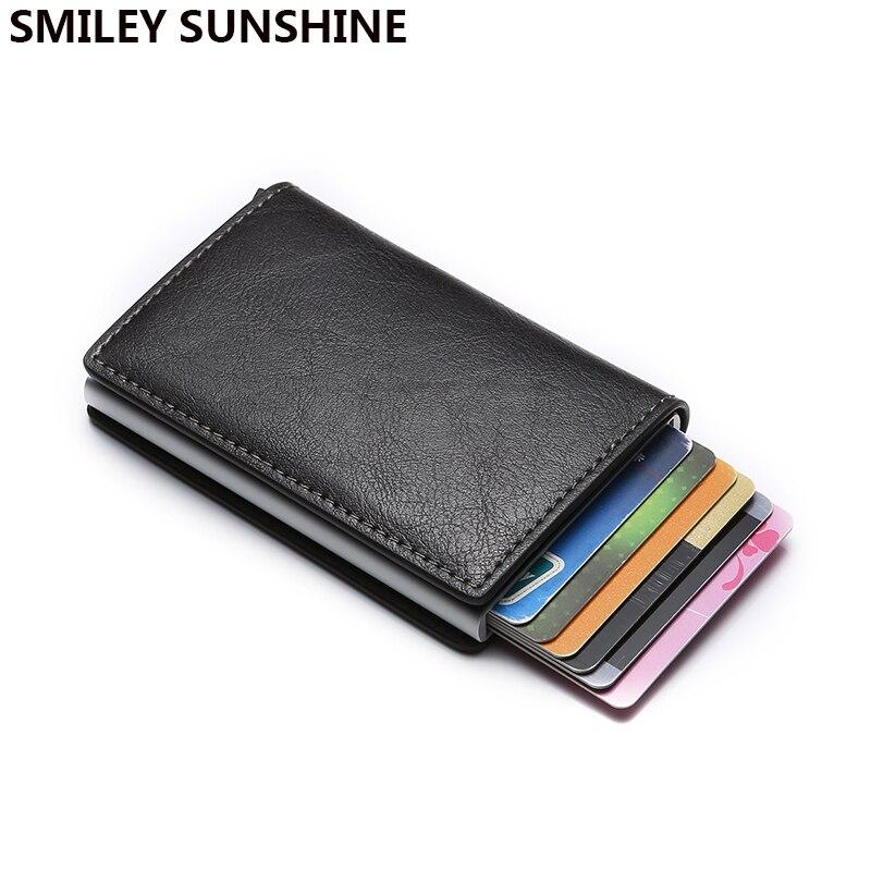 Rfid titular do cartão de crédito do banco de negócios bolsa de viagem mini fino carteira masculina anti-roubo de alumínio dinheiro slide cardholder protector