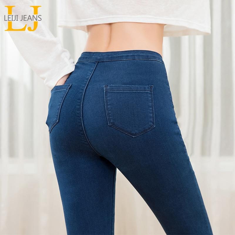 LEIJIJJEANS 2019 Women Push Up Jeans Plus Size Women Pants High Waist Full Length Women Casual Stretch Skinny Pencil Women Pants