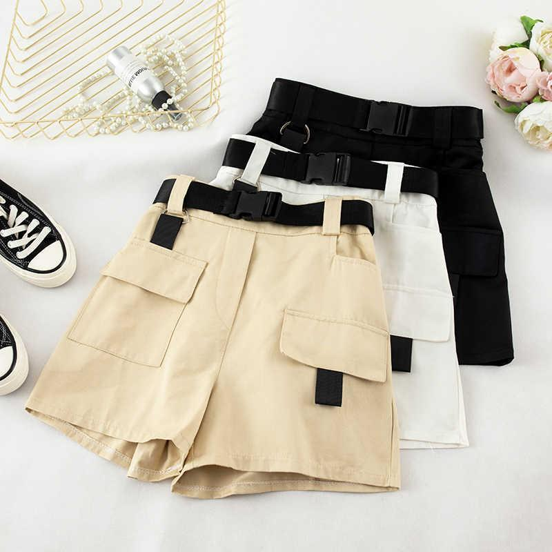 2020 Elastic High Waist Shorts For Women Summer Belt Shorts Vintage Sexy Cotton Biker Pocket Bf Style Shorts Feminino