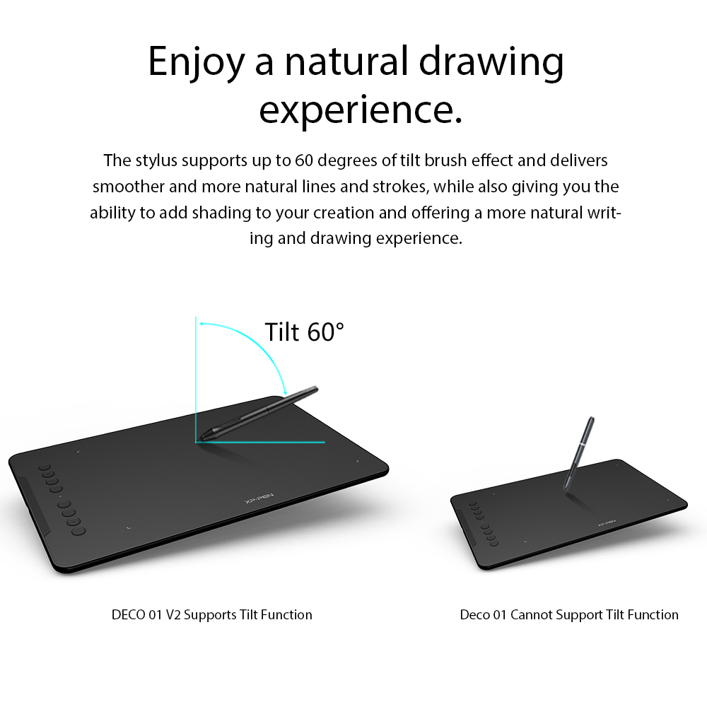 Award Winning XP-Pen Deco 01 V2 10'' Drawing Tablet Graphics Digital Tablet with Tilt Support with 8192 levels pressure Battery-Free Pen 5