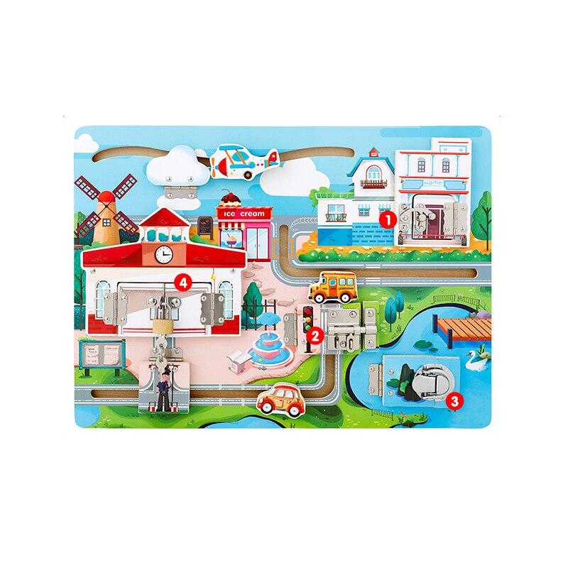 Montessori matériaux éducatifs en bois jouets pour enfants océan Cottage voiture déverrouillage enseignement aides conseil drôle bébé Senory jouet