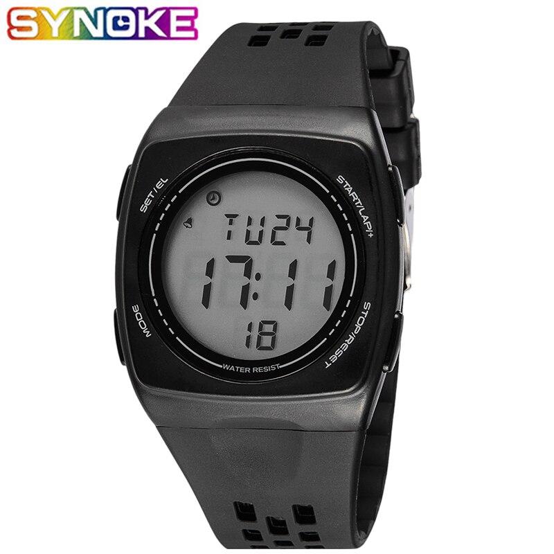 SYNOKE Men Digital Watches Sports Waterproof Luminous Alarm Clock  Multi Function Ultra-thin Core Students Watches