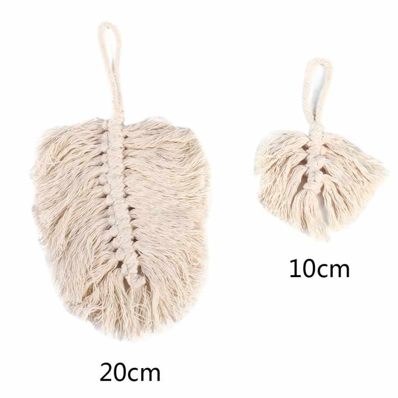 Living Room Interior Hand-woven Leaves Ornament Cotton Rope Leaves Pendant Wall Ornaments Hanging Cotton Rope Country Decoration