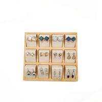 12 pairs of Earring Display Tray Stand Holder Velvet Stud Earrings Display Rack Pin Ear Ring Jewelry Tray Storage Holder Shelf