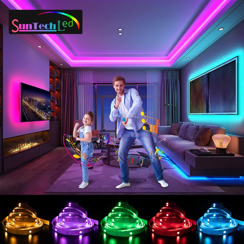 Suntech Led Strip,5m-30m SMD 5050 Bluetooth Music Led Lights, Phone App Remote Control,Decoration For Bedroom,Living Room