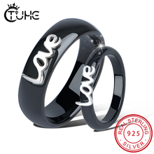 2pcs/Set New Engagement Gift Healthy Ceramic Rings Women Men Lover for Wedding Birthday Love Letter With Crystal Ring