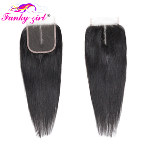 Image 5 - Funky Mädchen Erweiterung Brasilianische Gerade Haarwebart 3/4 Bundles Mit 5*5 Spitze Schließung Remy Menschliches Haar Bundles Mit verschluss 28 zoll
