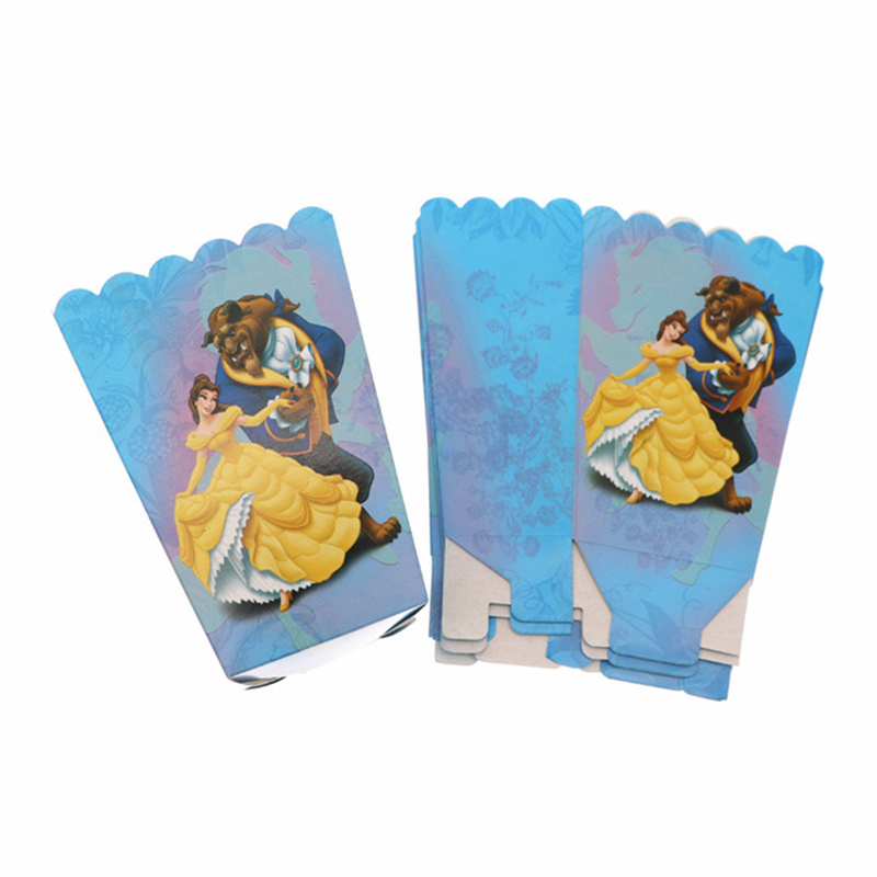 6Pcs Beauty And The Beast Popcorn Boxes Childrens Birthday Party Supplies Candy Box Baby Shower Loot Bag For Kids Favors Gifts